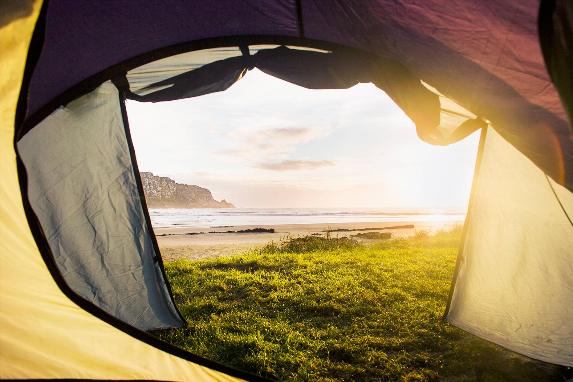 Sunrise camping New Zealand
